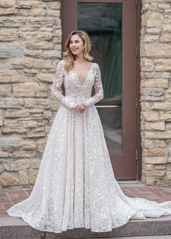 Bendela a-line leafy floral lace detachable long sleeves v-neck open back dress couture luxury bridal at MaidenWhite in Las Vegas