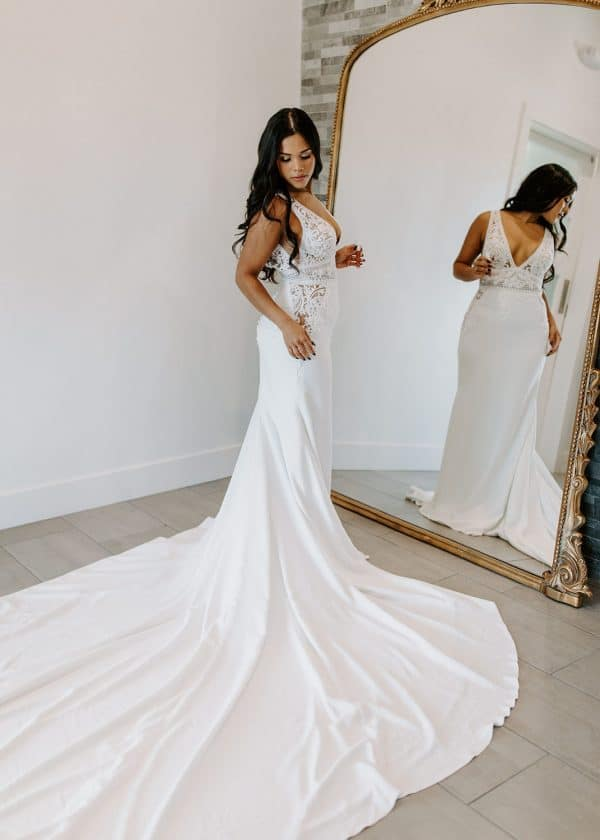 Aria Crepe Wedding Dress with Lace