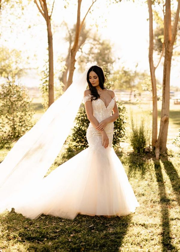 Lyra Ines Di Santo Couture at MaidenWhite Las Vegas Bridal Cameo Pink mermaid gown, off the shoulder lace straps illusion lace back