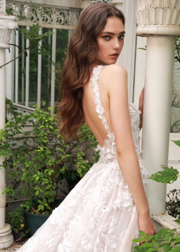 Athena - Dany Tabet Couture at MaidenWhite in Las Vegas. Luxury bridal gown, tank style strap, sweetheart neckline, 3D floral appliqués, full a-line princess ball gown, cathedral length train.