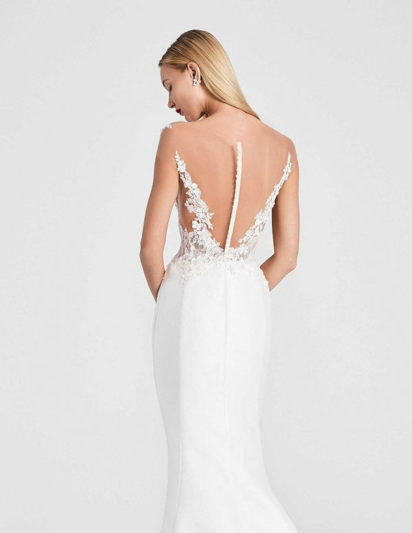Amity Back Ines Di Santo at MaidenWhite in Las Vegas. Sheer illusion back and bodice buttons down back off the shoulder floral lace magnolia skirt fit n flare trumpet silhouette white ivory cathedral train