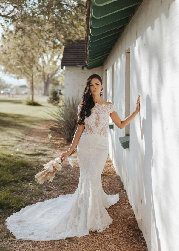 Giselle - Ines di Santo Couture at MaidenWhite in Las Vegas. Luxury bridal fit n flare trumpet mermaid sheath open back low back power mesh v-neck lace off the shoulder tank straps sleeveless sheer illusion lace bodice.