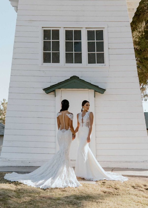 Spicy & Giselle Ines Di Santo Couture at MaidenWhite in Las Vegas. Shot at Floyd Lamb Park at Tule Springs. Windmill grass double bride photoshoot styled.