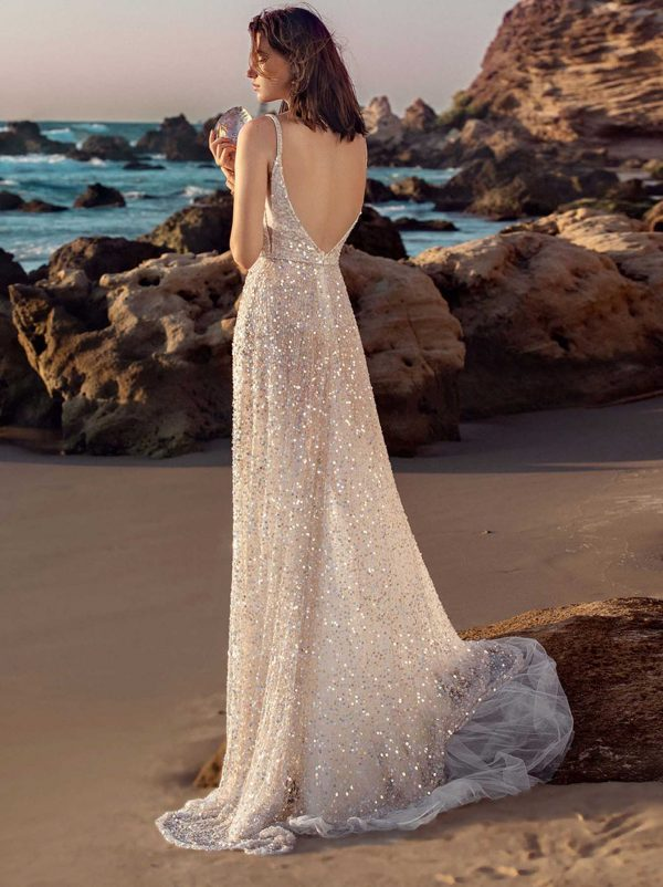 G-403 Galia Lahav Gala Collection at MaidenWhite in Las Vegas. Spaghetti Strap, plunging v-neck, light boning, sparkle sequin details, belt with bow detail. A-line skirt, light and airy.