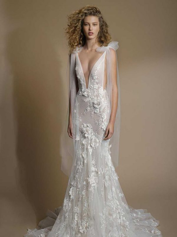 G-104 Galia Lahav Gala Collection at MaidenWhite in Las Vegas. Mermaid fit n flare spaghetti strap with plunging v-neck. 3D floral appliqués, cathedral train, low open back.