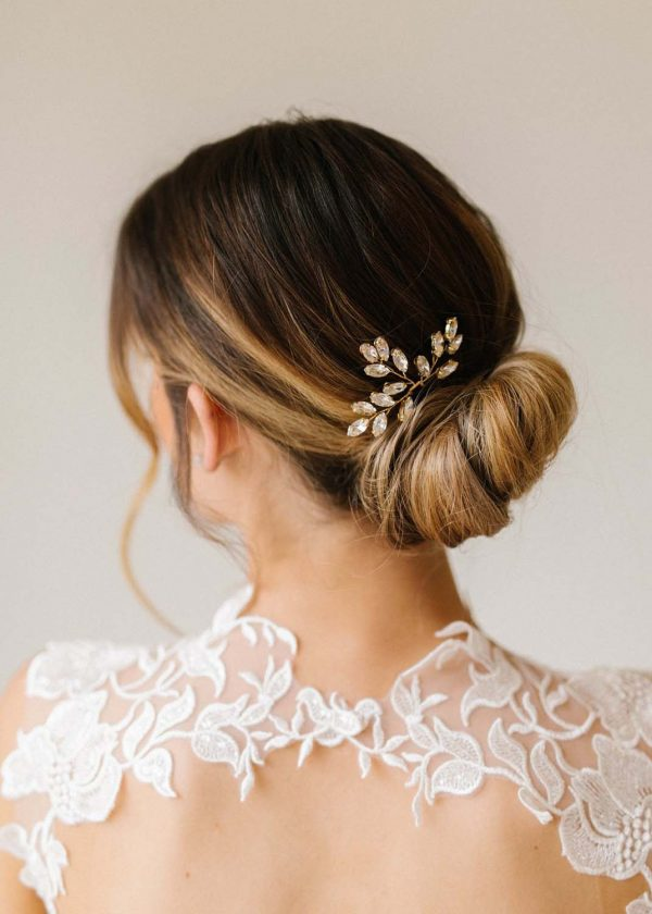 Leah crystal and gold hair pin - MaidenWhite in Las Vegas