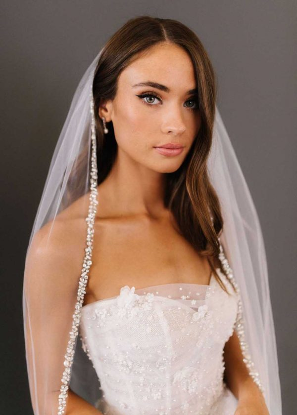 Cassia Veil crystal hand beaded trim ivory cathedral length