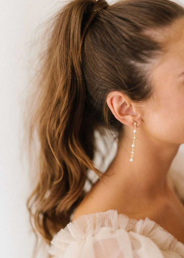 Constellation pearl gold drop earrings