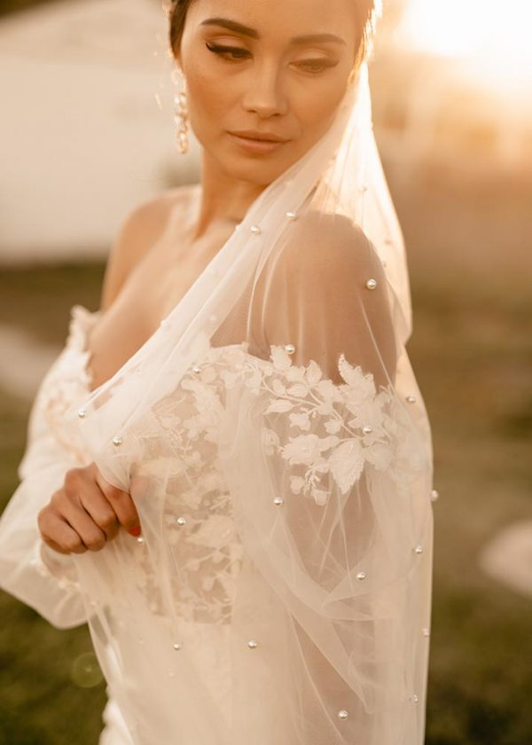 Perla pearl ivory soft tulle cathedral length veil MaidenWhite